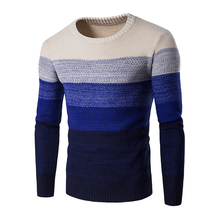Sweater Men Autumn Winter Knitting O-Neck Casual Male Slim Fit Pullover Striped