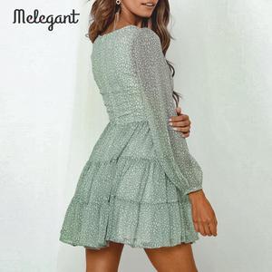 Image 3 - Melegantแขนยาว 2019 ชุดฤดูหนาวฤดูใบไม้ร่วงผู้หญิงสั้นRuffles Femme ElegantสีเขียวสุภาพสตรีชุดชีฟองVestidos