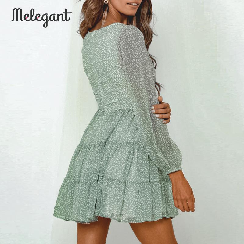Melegant  Long Sleeve 2019 Autumn Winter Dress Women Short Party Ruffles Femme Elegant Green Ladies Chiffon Dress Vestidos