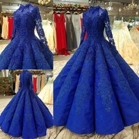 Elegant Sheer Sleeve High Neck Wedding Dress Full Ball Gowns Lace Appliques Vintage Bridal Gowns Robe Vestidos De Noiva Mariee