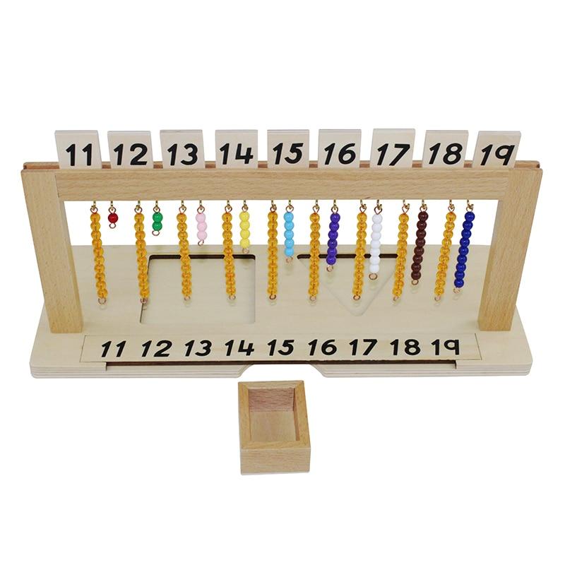 Montessori mathématiques enseignement aides maternelle enfants jouets en bois adolescent perle cintre - 4