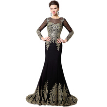 Black Gold Lace Long Mermaid Evening Dresses 2016 Long Sleeve Robe De Soiree Ribbon Lace Up Prom Party Dresses Real Photo XU040