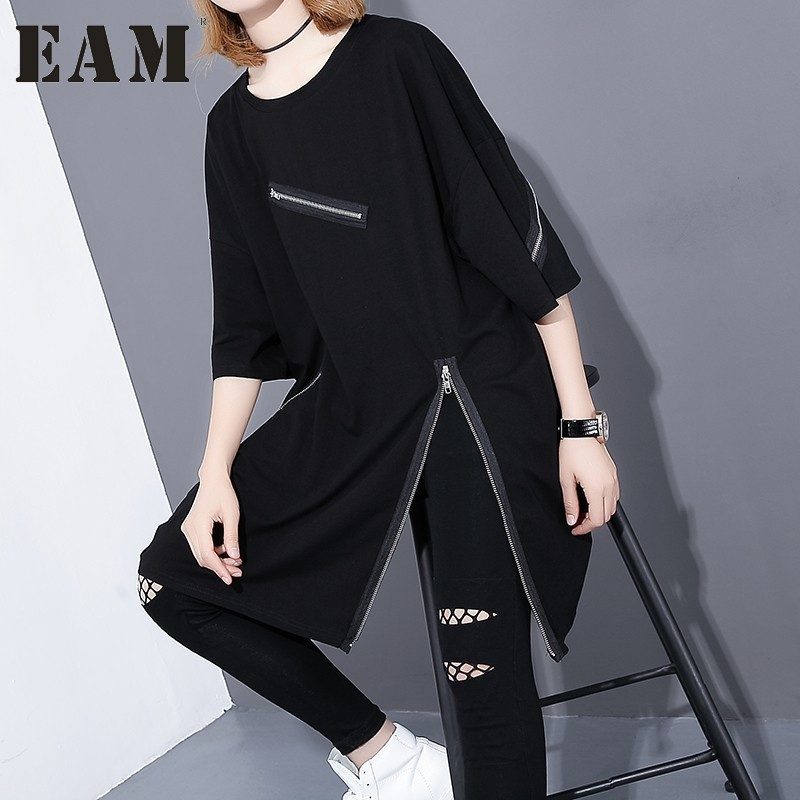 [EAM]2018 New Fashion Round Neck Half Sleeve Black Irregular Bried Zipper Split Joint Loose Big Size T-shirt Women Tide JF ...