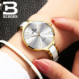 Image 2 - Suíça binger relógio de luxo feminino marca cristal moda pulseira relógios senhoras relógios de pulso feminino relogio feminino B 1185