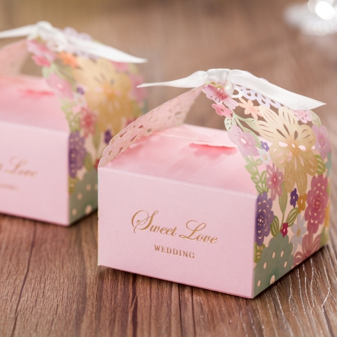 Flower Laser Cut Wedding Gift Favor Box Cb5031 Chocolate Holder Match Invitation Card Cw5031 In Bags Wrapping Supplies From Home Garden On