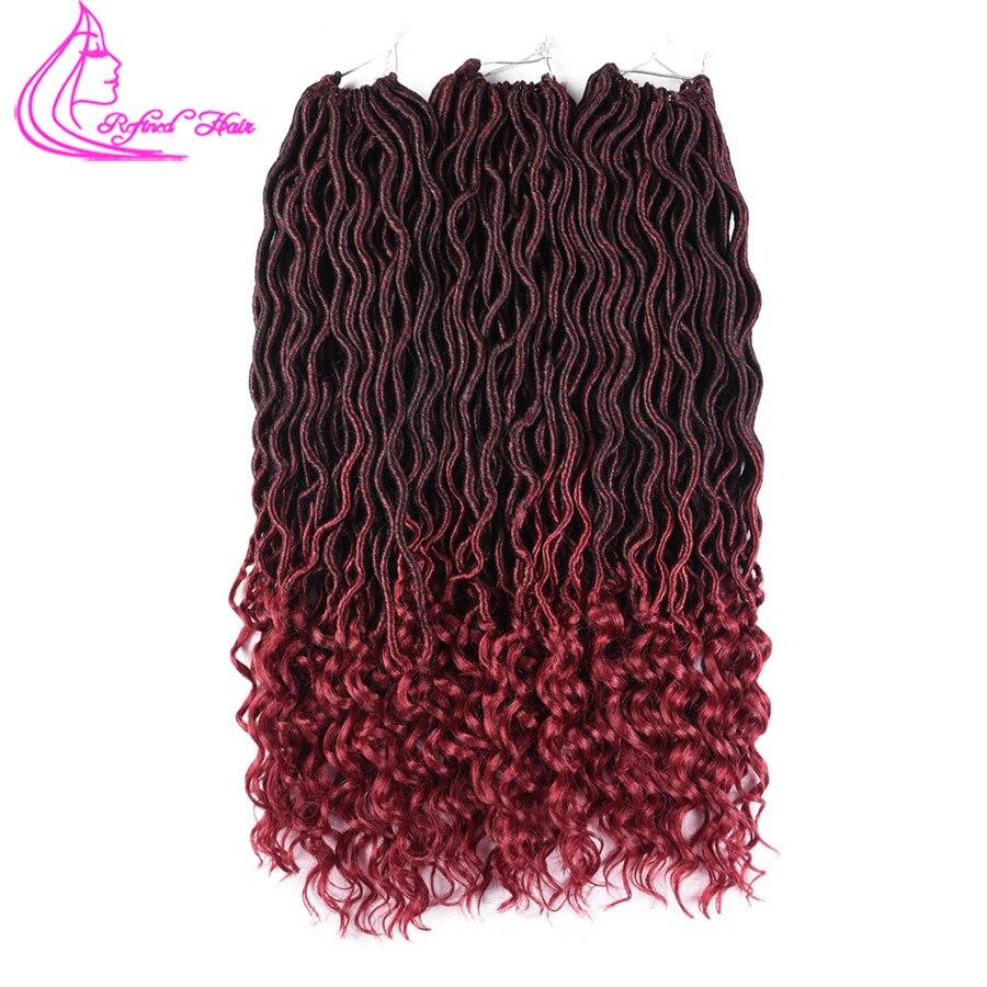 Raffiné Cheveux 18 Pouces Déesse Crochet Tresses Synthétique Tressage Cheveux Extensions 24 Racines Bohème Ondulés Faux Locs avec Livraison Fin