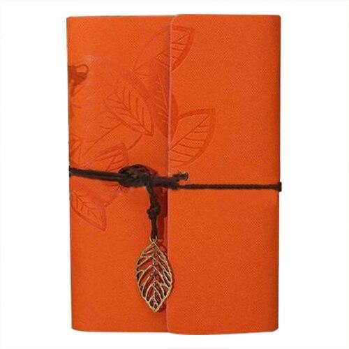 PU Leather Diary book Notebook Leaf Pendant Vintage Notebook 19x13.5cm, Orange