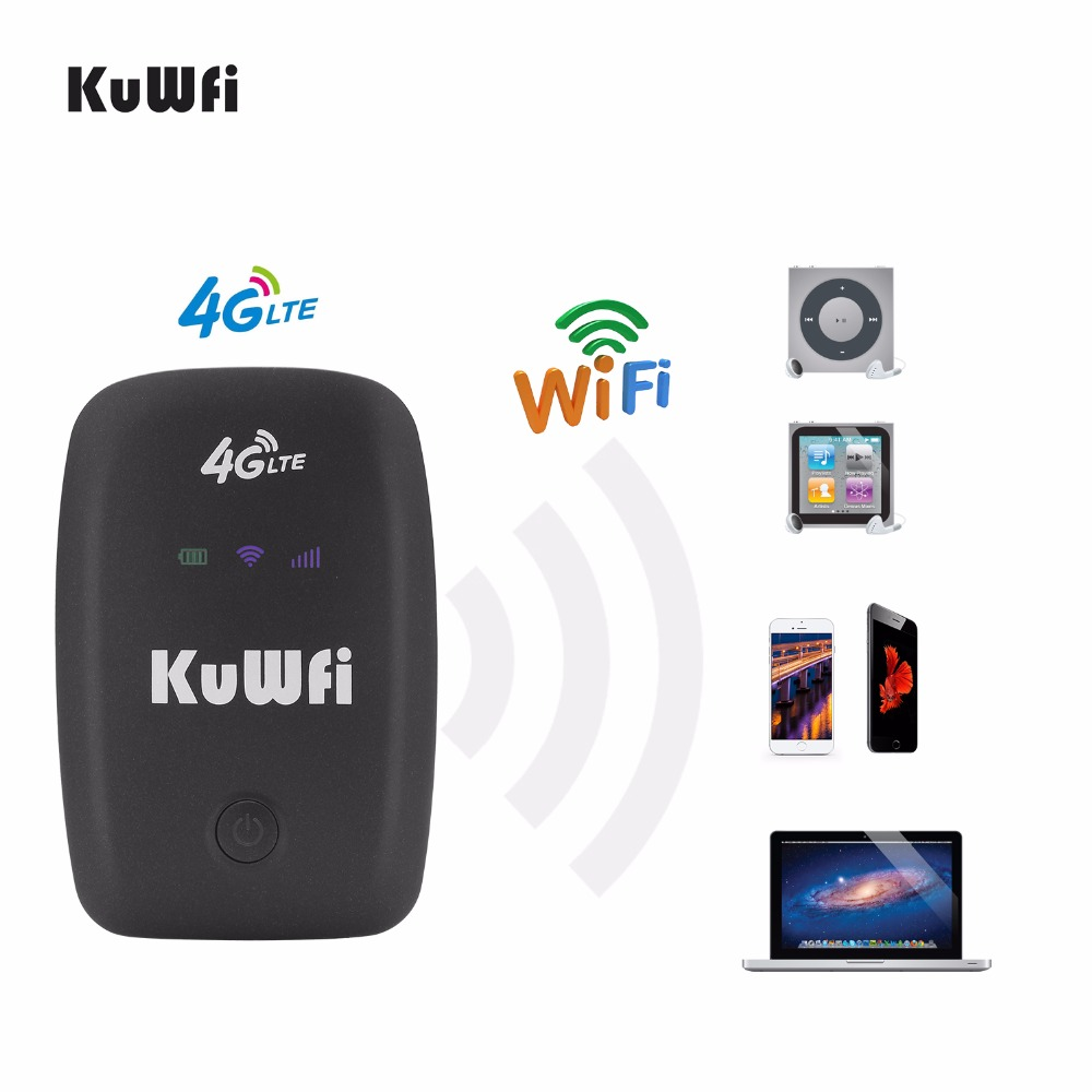 KuWFi Unlocked 3G 4G Wifi Router Hotspot Mobile Portable Pocket Wireless Car Mifi Modem With Sim Card Slot 2000mAh Battery zte mf910 mf910v 4g lte mobile wifi wireless pocket hotspot router modem unlocked
