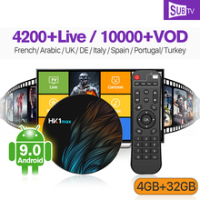 IPTV France Arabic Canada Italian Box SUBTV HK1 MAX Android 9.0 4G+32G Code IP TV Subscription Receiver French