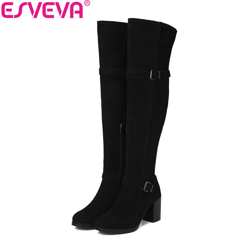 ESVEVA 2018 Boots Square Heels Short Plush Women Boots High Heels Round Toe Elegant Over The Knee Boots Ladies Shoes Size 34-39 esveva 2018 women boots sweet style zippers square high heels pointed toe ankle boots chunky short plush ladies shoes size 34 39