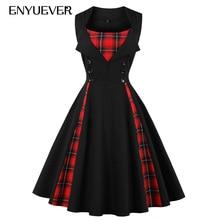 Фотография Enyuever Plaid Dress Plus Size 2018 Patchwork Floral Print Vestido Pin Up Robe Rockabilly Retro Party Vintage Dresses 50s 60s