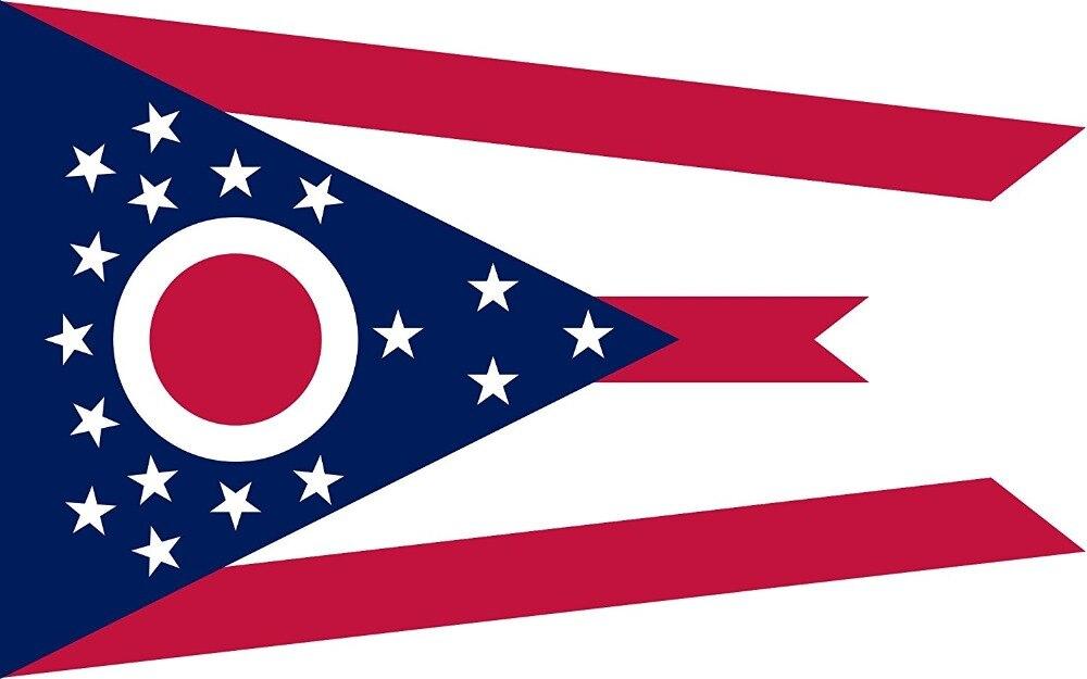 MOFAN Ohio Flag Vysoce kvalitní odolný a dvakrát prošitý stát Ohio státní vlajky polyester s mosazným průchodem 3x5 Ft