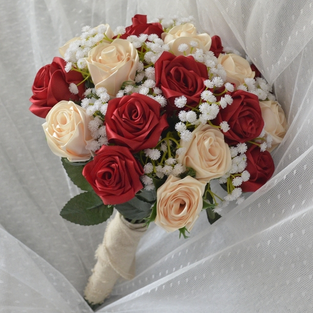 Bouquet De Mariage Handmade Satin Rose Flowers Red Champagne Wedding Buque Noiva Real