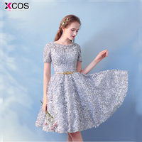 Champagne 2018 Cocktail Dresses Formal Party Gowns robe cocktail mi longue Elegant Fashion Girls Short Lace Homecoming Dress