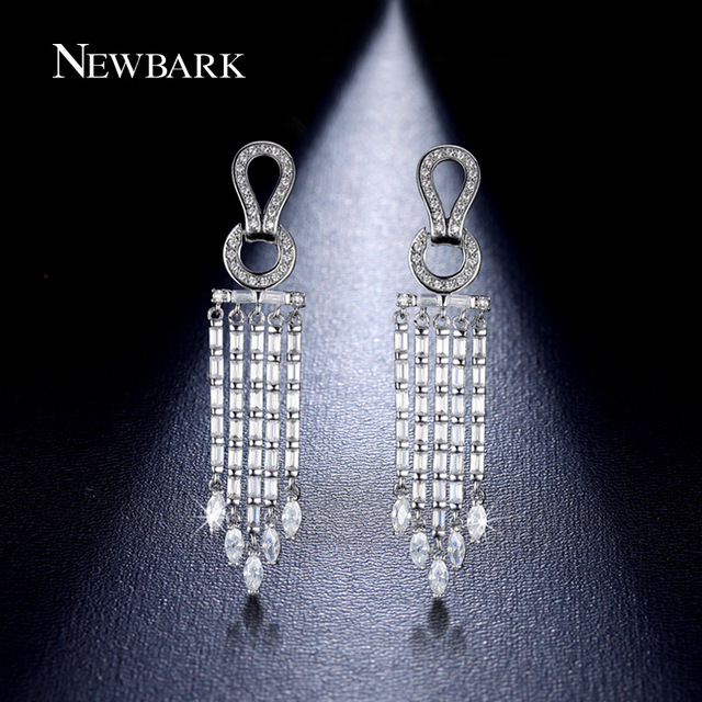 aa47eee47c3 NEWBARK Luxury Chandelier Dangle Earrings 18K White Gold Plated Long  Earrings For Women CZ Diamond-