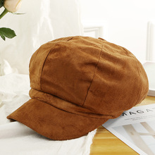 bc6c57c1d61bf Jujuland nueva moda hombres mujeres Newsboy Cap gamuza sombrero octogonal  chica boina Color sólido Simple arte