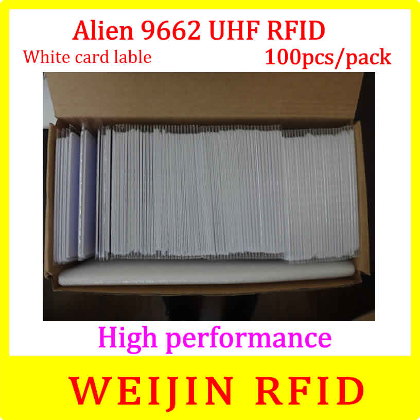 Alien authoried 9662 860-960MHZ UHF RFID Card 100 pcs per pack Alien Higgs3 915M EPC 54x86x0.9mm PVC card free shipping