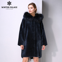 New Winter Products fashion fur mouton fur coat Classic style coat women Blue fur coat Fox fur Hat Brim WINTER PALACE
