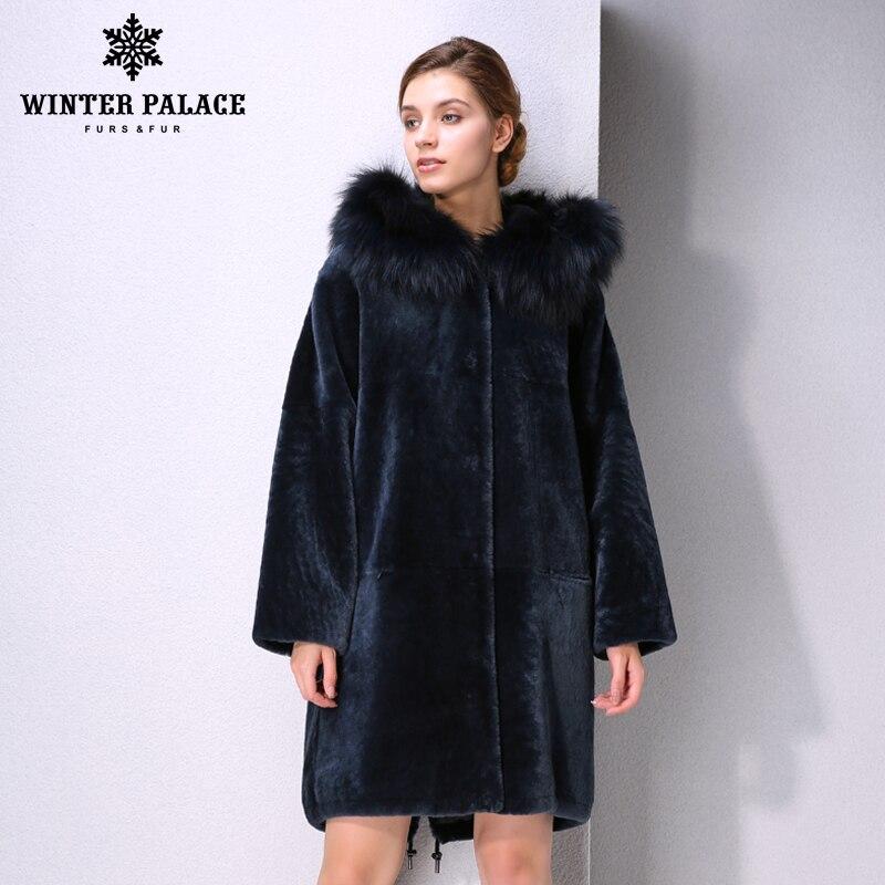 New Winter Products Fashion Fur Mouton Fur Coat Classic Style Coat Women Blue Fur Coat Fox Fur