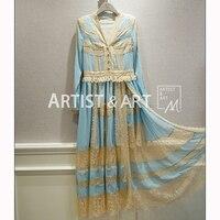 Svoryxiu высокого класса индивидуальный заказ Брендовое платье Женская синий лоскутное кружево разделение с длинным рукавом V образным вырезо
