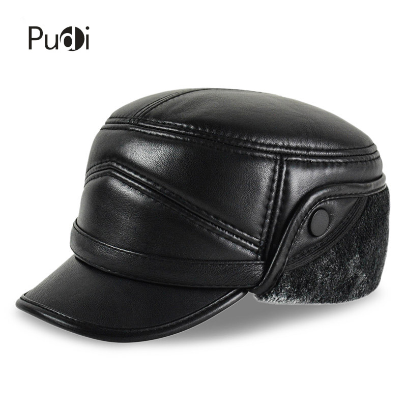 HL162-F Genuine leather baseball cap hats men's brand new sheepskin leather army hats caps black with Faux fur inside [flb] men s faux leather baseball cap russian winter warm baseball hat cap with faux fur inside drop shipping
