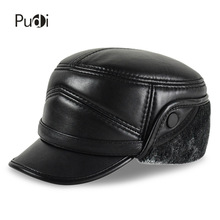 HL162-F Genuine leather baseball cap hat  men's brand new sheepskin leather army military  hats caps black with Faux fur inside цена