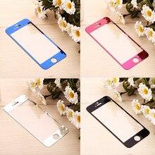 1 шт., переднее цветное закаленное стекло для iPhone 6, 6 S, 7, 8 Plus, зеркальное покрытие для iPhone 5, 5S, 5C, SE, Защитная пленка для экрана