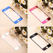 1pcs Front Colorful Tempered Glass for iPhone 6 6S 7 8Plus Mirror Effect Cover For iPhone 5 5S 5C SE Screen Protector Plate Film cheap GDRE CN(Origin) Front Film Apple iPhone