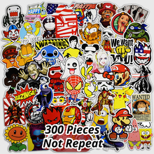 300 STKS Mix Grappige Stickers voor Laptop Skateboard Bagage Auto Styling Bike JDM Doodle Decals Interieur Cool Waterdichte Sticker