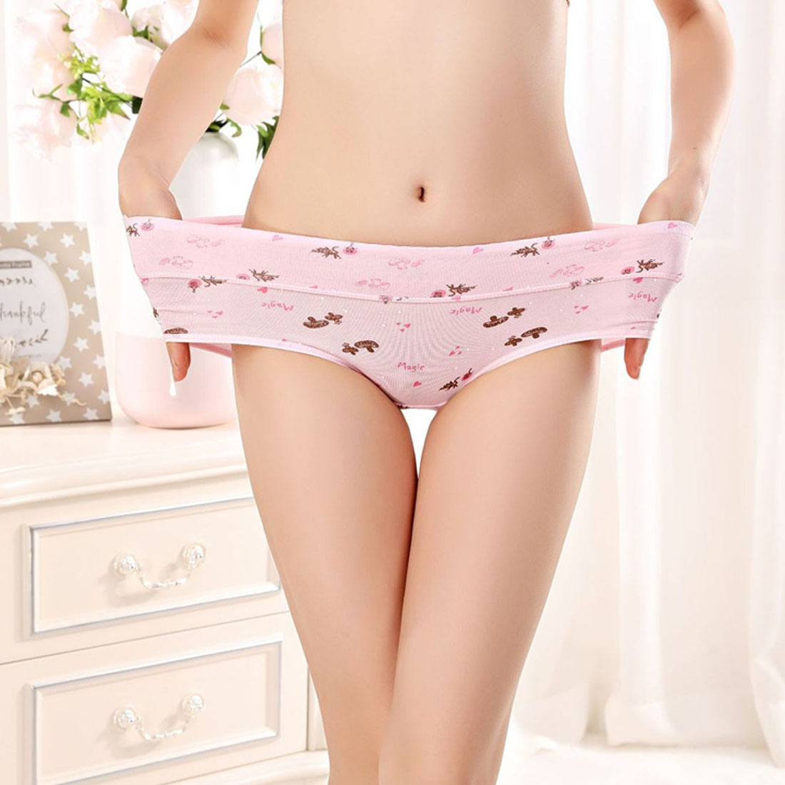 Women's Panties Pattern Cotton Underwear 2019 New Hot Gril Briefs Lingerie Cartoon Female Panty Woman Comfortable Cartoon Briefs
