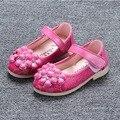 Crianças sapatos sapatos meninas bela flor princesa sapatos único crianças pu sapatos de couro crianças sandálias meninas macios crianças