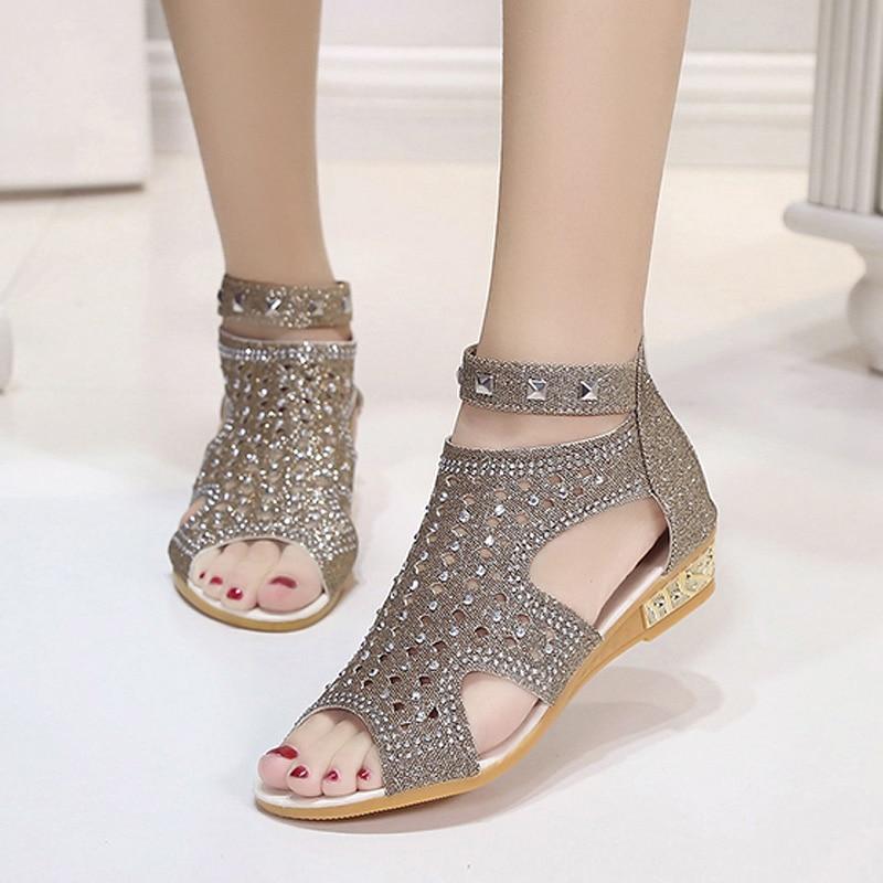 2018 Bling Frauen Sandalen Frauen Hausschuhe Feminina Lässige Rom Sommer Schuhe Kristall Gladiator Sandalen Frauen Alias Mujer