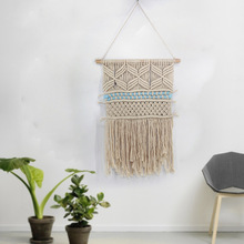 New Bohemian Hand Knotted Macrame Wall Art Handmade Cotton Hanging Tapestry with Lace Fabrics Wedding Decoration