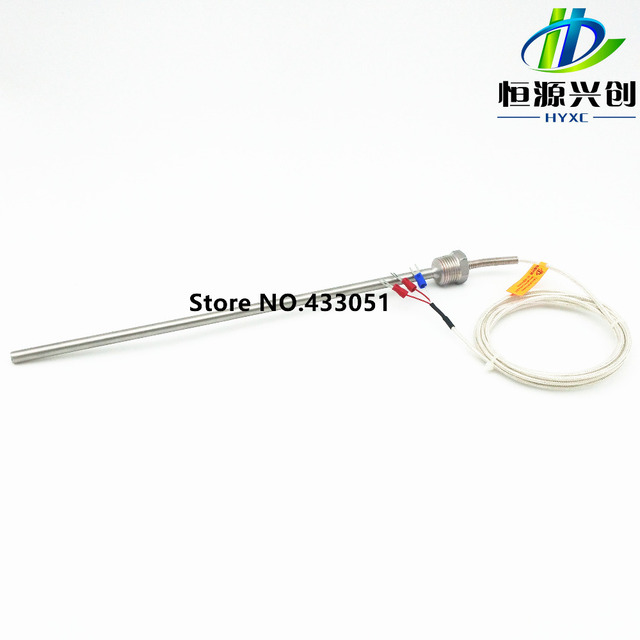 Free shipping,Pt100 ohm Probe Sensor L 300mm long type PT NPT 1/2'' Thread with Lead Wire