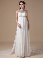 2019 Новый Настоящее неформальной империи для беременных шифон Пляжные Свадебные платья Кристалл Длинные Богемские свадебные одежды для бер
