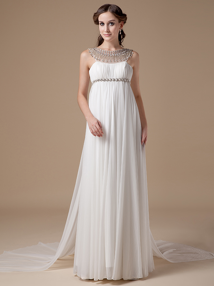 Us 155 48 8 Off 2019 New Real Informal Empire Maternity Chiffon Beach Wedding Dresses Crystal Long Bohemian Bridal Gowns For Pregnant Women In
