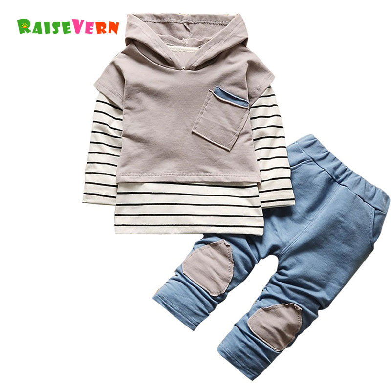 Fashion Newborn Kids Striped Outfits Children Autumn Baby Boy Clothes Sets Long Sleeve Patchwork Shirt Jeans Pants Suits kids clothes boys sets long sleeve autumn outfits 2017 tracksuit spring hooded fashion children clothing sports suits for boy