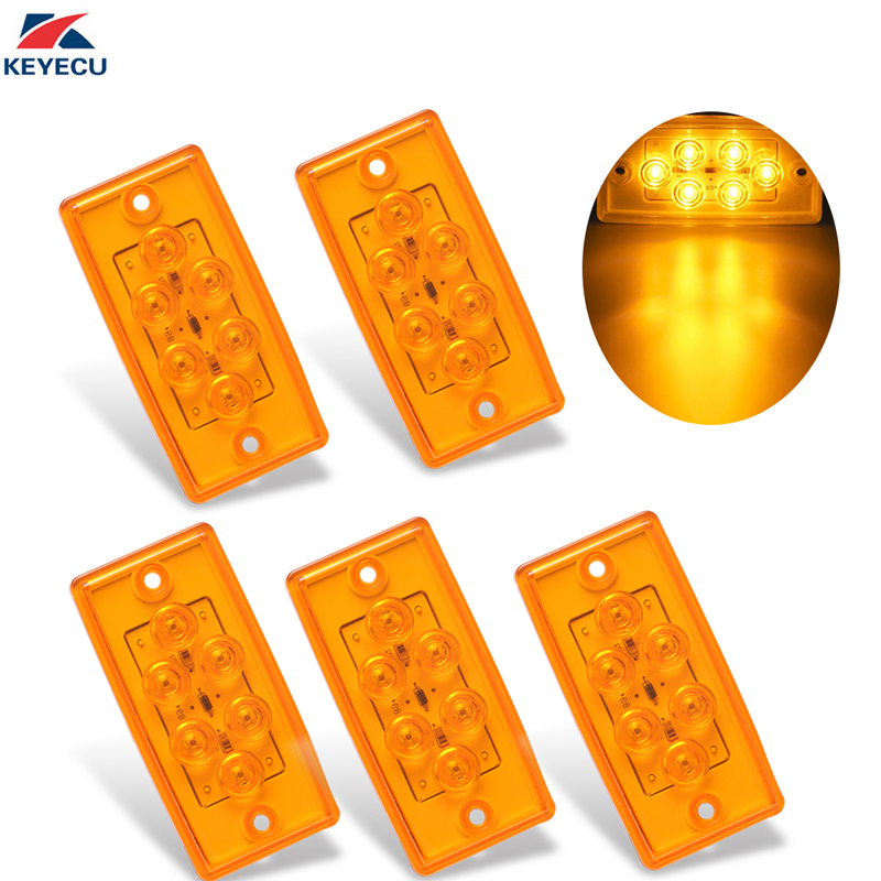 KEYECU 5x 12V Rectangle Amber 6 LED Cab Roof Top Clearance Turn Signal Tail Side Marker Light for Freightliner Truck Trailer RV autoleader 24 led roof ceiling interior reading dome light for camper car rv boat trailer 12v porch light rectangle clear amber