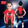 De alta calidad de los muchachos ropa de niños Spiderman traje de tres piezas de ropa para traje chaqueta + chaleco + pantalones cortos