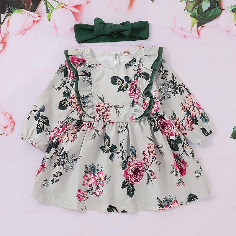 Детская одежда из хлопка платье с цветочным рисунком и длинными рукавами для девочек + зеленая детская лента для волос, платье Vestidos, новинка
