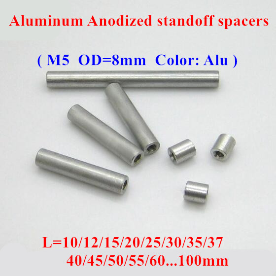 10pcs <font><b>M5</b></font> aluminum rods <font><b>M5</b></font>*10/12/15/20/25/30/35/40..80mm Aluminum Alloy round standoff spacer Spacing screws for RC Parts D=8mm image
