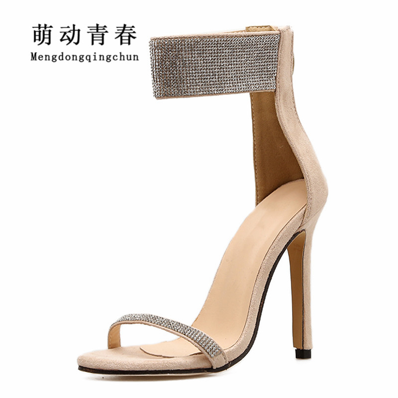 Women High Heels Pumps 2018 Fashion Women Peep Toe Thin Heels Shoes Women Crystal Rhinestone Party Shoes Summer Pumps Sandals or fabric camouflage leaf headgear