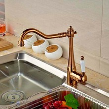 Rose Golden Deck Mounted Kitchen Faucet Swivel Spout Ceramic Handle Hot and Cold Water