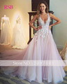 Elegant Wedding Dress V-neck  Beautiful Vestido De Noiva Custom Made Lace Up Sleeveless Floor-Length Tank Ball Gown Custom Made