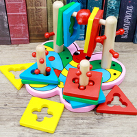 candice guo! Educational Wooden toy motor skills game 3D four pillars block colorful shapes butterfly baby toy birthday gift 1pc