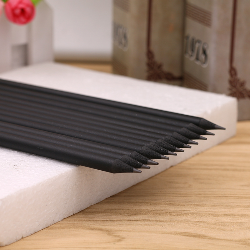 Pure Black Simple Pencil HB Wooden Pencil Sketch Drawing Pencil Learning Office Writing Pen
