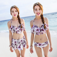 New Arrival 2015 Women Sexy Floral Swimwear Padded Bra Bikini Skirt Push Up Swimsuit Female Lady