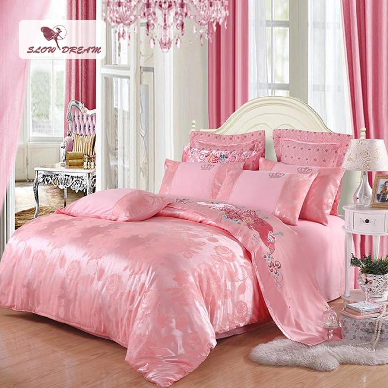 SlowDream Pink Bedding Set Twin Queen King Double Duvet Cover Set Bedspread Silk Bed Linen Euro