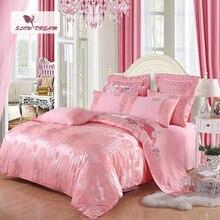 SlowDream Pink Bedding Set Twin Queen King Double Duvet Cover Set Bedspread Silk Bed Linen Euro Cotton Bed Sheet Decor Home Bed стоимость