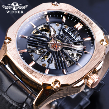 цена на Winner Top Brand Mens Automatic Watch Rose Golden Hollow Skeleton Leather Wrist Watches Male Business Mechanical Clock Dropship
